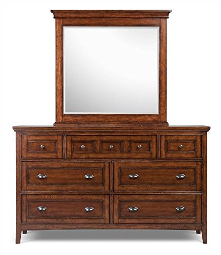 (Magnussen Furniture Dresser & Mirror Set in Cherry Finish - Harrison)