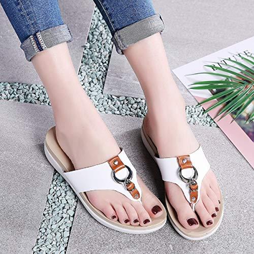 Femmes Tongs Aonegold De Flip Flops Chaussures Casual Toe Blanc Plage Clip Bohême Sandales HFfqnFx1Cd
