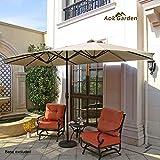 Aok Garden 15 Ft Outdoor Patio Umbrella Double-Sided Aluminum Table Umbrellawith Lift Crank, Beige