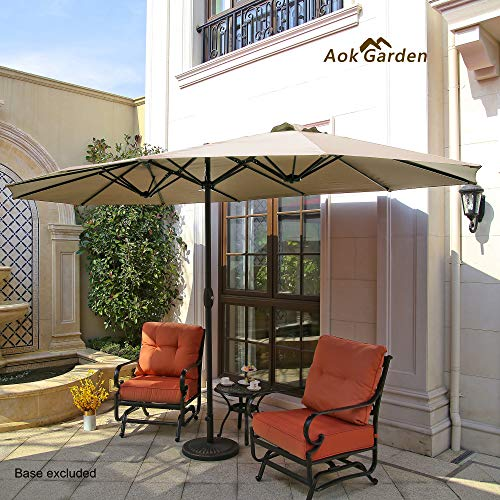Aok Garden 15 Ft Outdoor Patio Umbrella Double-Sided Aluminum Table Umbrella with Lift Crank, Beige ()