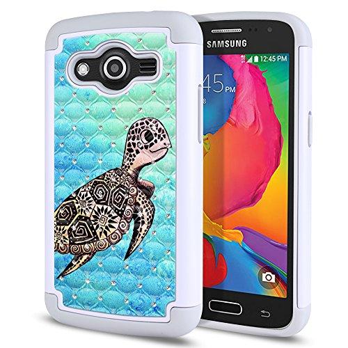 Samsung Galaxy Avant G386T Case, Fincibo (TM) Dual Layer Shock Proof Hybrid Hard Protector Cover anti-drop Silicone Star Studded Rhinestone Bling, Cute Turtle (Style 1) (Studded Samsung Avant Case)
