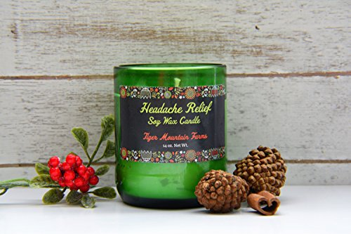 Headache Relief Soy Wax Candle Scented with Peppermint and Eucalyptus Oil| 45+ Burn Hours