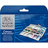 Winsor & Newton 390373 Cotman Water Color Pocket Plus Set of 12 Half Pans