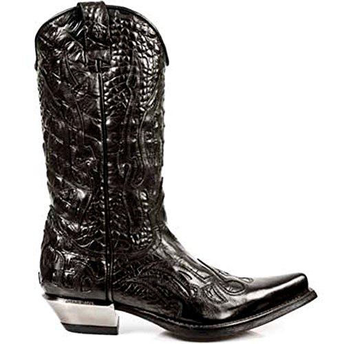 Newrock chers 7921-S1 New Rock en cuir noir OUEST écraser Cowboy bottes en cuir