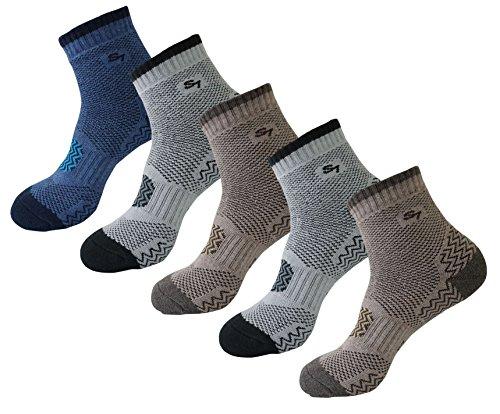 SEOULSTORY7 5pack Men's Full Cushion Mid Quarter Length Hiking Socks 5Pair Brown2P/Gray2P/Blue1P Ankle Length Large2
