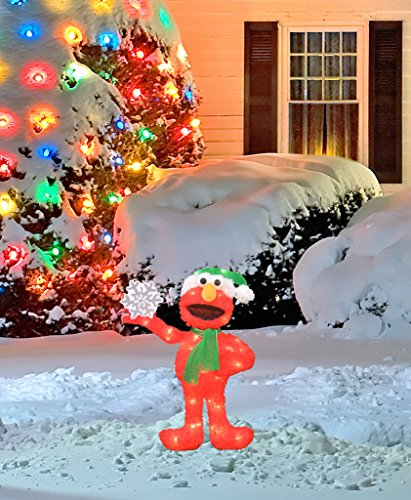 ProductWorks 24-Inch Pre-Lit Sesame Street Elmo with Snowflake Christmas Yard Decoration, 35 Lights by ProductWorks (Image #1)