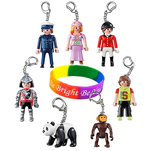 Playmobil Keyring Set: Princess - Equestrienne - Knight - Policeman - Skateboarder - Panda - Monkey With Dimple Bracelet