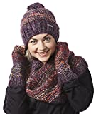 Screamer Women's Chellene Beanie with Matching Infinity and Gloves, One Size, Eggplant