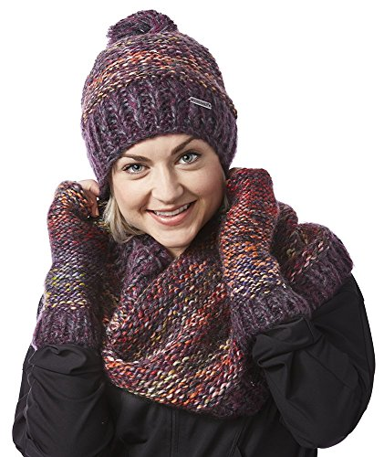 Screamer Women's Chellene Beanie with Matching Infinity and Gloves, One Size, Eggplant by Screamer