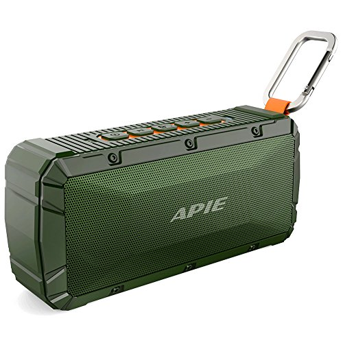 APIE Portable Wireless Outdoor Bluetooth Speaker IPX6 Waterproof Dual 10W Driversf, Enhanced Bass, Built in Mic,water Resistant,Beach, Shower & Home by Apie