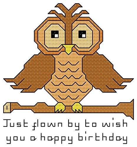 - Happy Birthday Wise Old Owl cross stitch chart/ pattern - whole, quarter and backstitch used: Perfect for putting into cards and frames.  Leave off words to use for occasions other than birthdays.