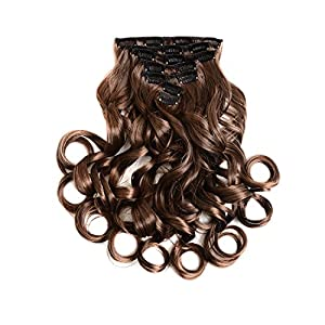 "7Pcs 16 Clips 20-24 Inch Thick Double Weft Full Head Clip in Hair Extensions Curly Straight Wavy Hairpiece 8 colors (20"" Body Wave, #2-30 Brown)"