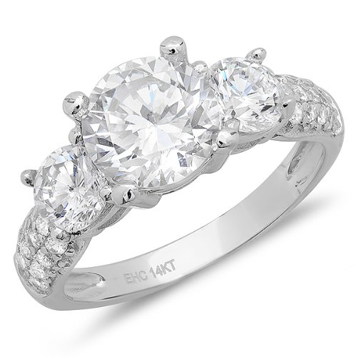 Dazzlingrock Collection 3.00 Carat (ctw) 14K Round Cubic Zirconia 3 Stone With Accents Ladies Engagement Ring, White Gold, Size 7