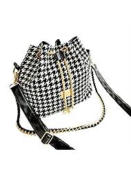 AENMIL New Fashion Women Bucket Plaid Canvas Handbag Printing Houndstooth Shoulder Bag Female Korean Version Messenger Package - Black