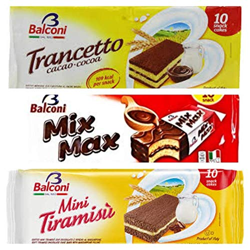 Balconi Cacao, Mix Max, Tiramisu -3 COMBO PACK - 10 Individual snack pack per package by Balconi