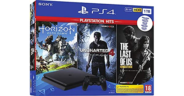 Sony PS4 1TB + Horizon Zero Dawn + The Last of Us + Uncharted 4 ...