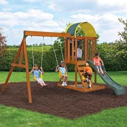Premium Play Sets Ainsley Ready to Assemble Wooden Swing Set, Multicolor