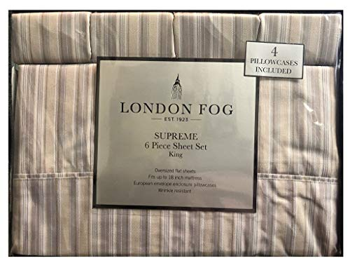 London Fog Supreme 6 Piece Sheet Set Wrinkle Resistant Queen Sheet