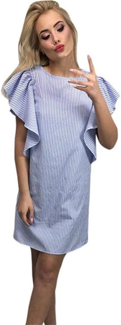 Vestidos Mujer Rayas Vestidos De Camisa Verano Fashion Casual ...