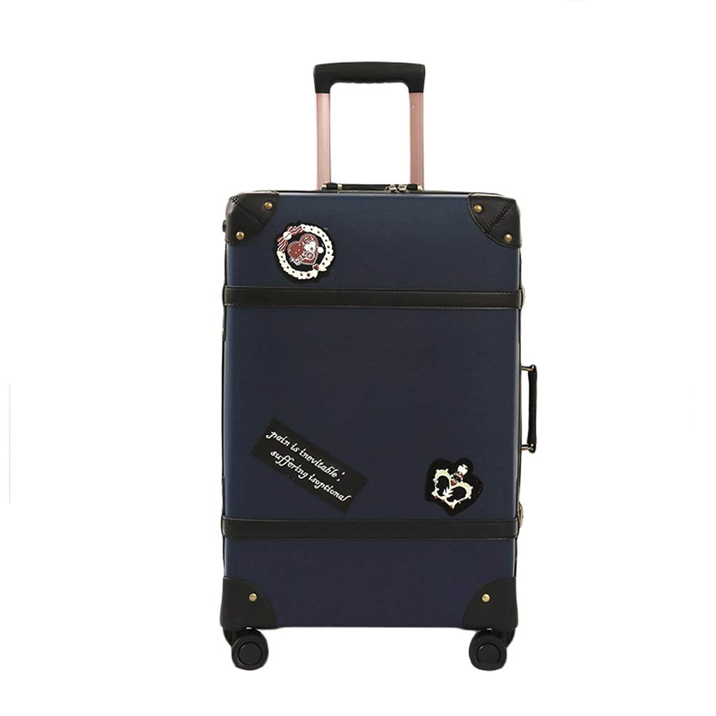 ZHAOSHUHLI スーツケース手縫いレトロトロリーケース学生英国キャンパスウィンドジッパー荷物大容量税関ロックスーツケース (Color : Blue, Size : 20'') B07R1LGF3V Blue 20''