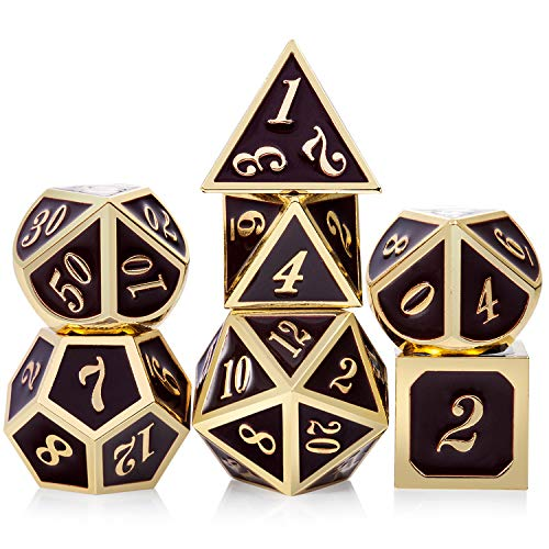 DND Dice Set, Metal Dice with Metal Box for Dungeons and Dragons(D&D,DND) Shadowrun, Pathfinder, Savage World and Table Games(Coffee and Gold Number)