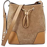 Michael Kors Cary Medium Suede and Leather Bucket Bag (Caramel)