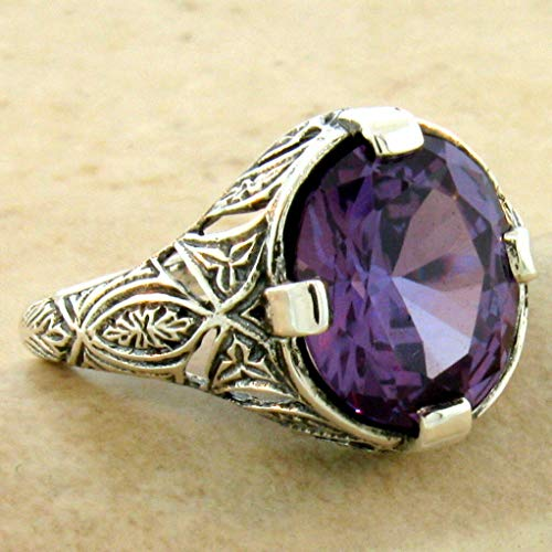 Alexandrite Lab - 6 CT Color Changing LAB Alexandrite Art Deco Style 925 Silver Ring Size 8 KN-4660