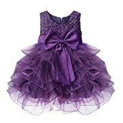 TiaoBug Baby Girls Flower Wedding Pageant Princess Bowknot Communion Party Dress Purple 3-6 Months