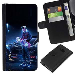 Protector de cuero de la PU de la cubierta del estilo de la carpeta del tirón BY RAYDREAMMM - HTC One M9 - Back To The Futur