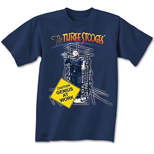 (Three Stooges- Genius at Work T Shirt-XX Large Blue Heather)