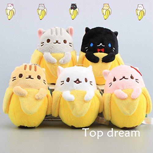 5pcs Anime Bananya Banana Cat Plush Toy Soft Stuffed Animal Doll 9cm Keychain