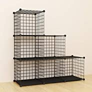 Bookshelf with Multi-Function Space-Saving Metal Organizer Wire Shelves Cubes Storage Portable Storage Shelf R