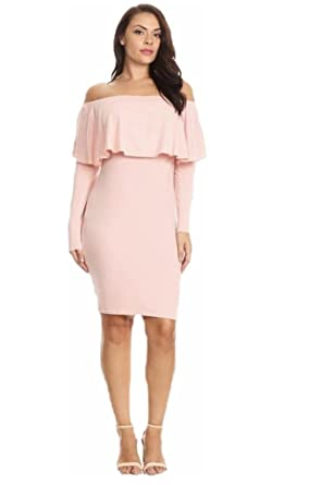 dcef558d0c Jersey Glam Plus Pink Off Shoulder Long Sleeve Bodycon Stretch Sexy Midi  Dress (1X)