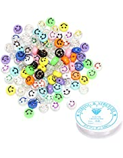 100pcs Smiley Face Beads, Multicolor Round Acrylic Alphabet Smiley Beads with 1 Roll Elastic Crystal String Cord. Spacer Beads for DIY Jewelry Making Bracelet Earring Necklace Craft Making Supplies
