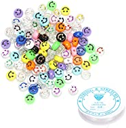 100pcs Smiley Face Beads, Multicolor Round Acrylic Alphabet Smiley Beads with 1 Roll Elastic Crystal String Co