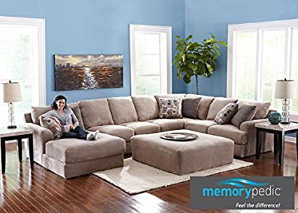 Monterey 3 Pc. (Reverse) Sectional With Memory Pedic Foam RAF In Taupe