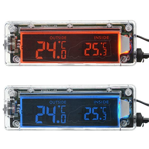 Price comparison product image 12V Transparent Shell Digital LCD Outdoor / Indoor Car Thermometer with Shiftable Red and Blue Backlight