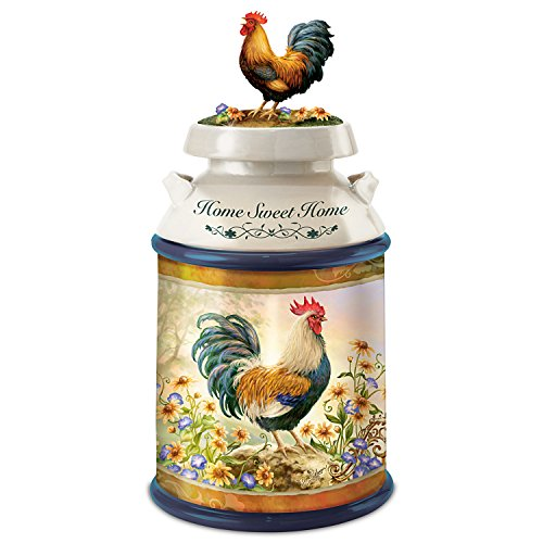 (Dona Gelsinger Country Rooster Art Cookie Jar With Free Cookie Cutter And Recipe by The Bradford Exchange)