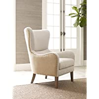 Elle Decor Mid-Century Modern Wingback Chair in French Two-Toned Beige