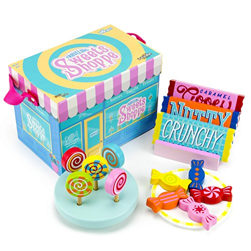 Traveling Sweets Shop Pretend Play Set with Chocolate Bars, Lollipops, and Candies (16 pcs.) by Imagination Generation by Imagination Generation