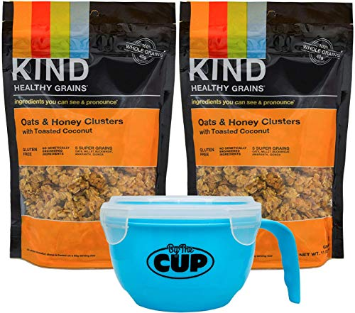 Kind Healthy Super Grains, Oats & Honey Clusters with Toasted Coconut Gluten Free, 100% Whole Grains, Non GMO - 11 Ounce Bags (Pack of 2) - with By The Cup Healthy Snacks Pack with Cereal Bowl