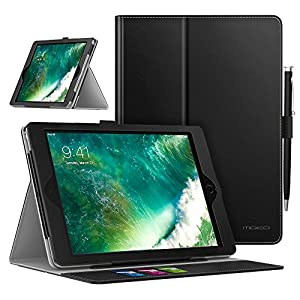 MoKo Case for iPad 9.7 2018/2017 - Premium Light Weight Shock Proof Stand Folio Cover Protector for Apple iPad 9.7 Inch 2018/2017/iPad Air/iPad Air 2 Tablet, BLACK (with Auto Wake/Sleep)