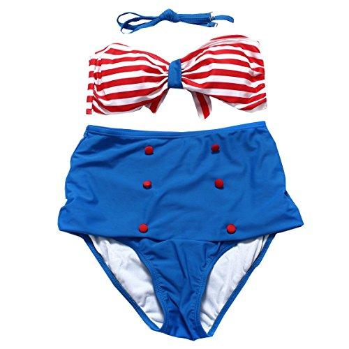 KUWOMINI. Alta Cintura Rayas Bikini Atractivo BlueAndRed