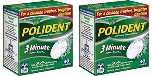Polident 3 Minute Denture Cleanser Tablets, 40 ea (Pack of 2) (Denture Cleaner 3 Minute)