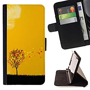 DEVIL CASE - FOR Sony Xperia Z3 D6603 - Beautiful Autumn Leaves Tree - Style PU Leather Case Wallet Flip Stand Flap Closure Cover