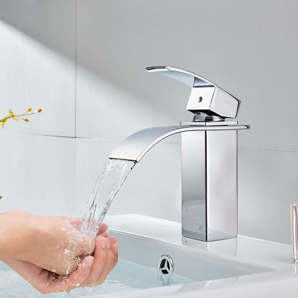 ERNTOGO Einhebelmischer Wasserhahn Bad, Chrom Wasserfall Wasserhahn Mischbatterie Waschtischarmaturen