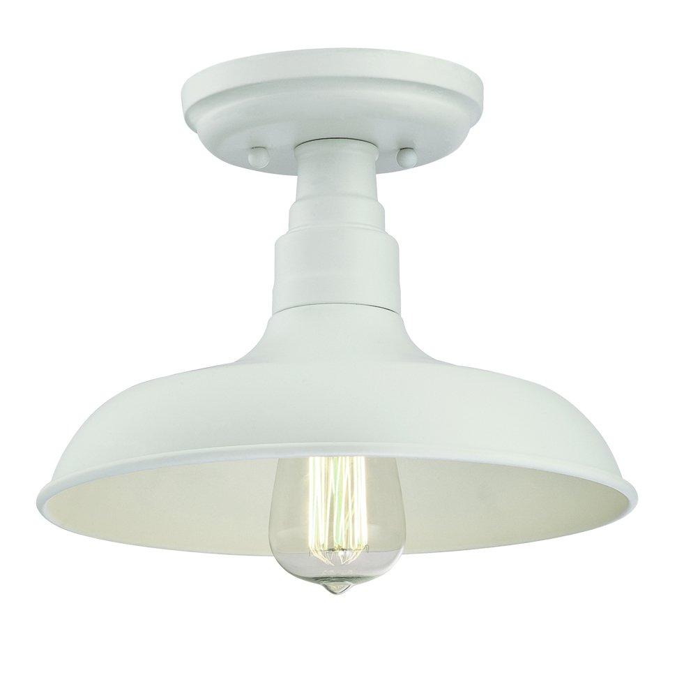 Design House 579631 Kimball 1-Light Semi-Flush Ceiling Mount Industrial Light, Antique White