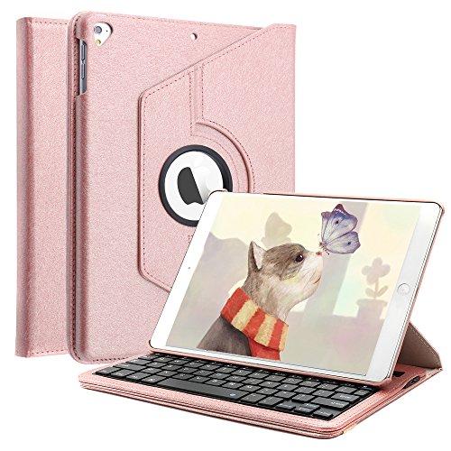 iPad Keyboard Case for iPad 6th Gen 2018 /iPad 5th Gen 2017/ iPad Pro 9.7 2016 / iPad Air 2/ iPad Air -360 Degree Rotating Bluetooth Keyboard Cover, Rose Gold