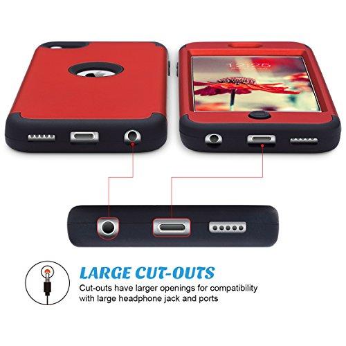 iPod 5 caso, ULAK iPod Touch 6 Funda Carcasa híbrido de 3 capas de silicona a prueba de golpes duro caso cubierta para iPod touch 5ta / 6ta generación (F-Rojo + Negro) F-Rojo + Negro