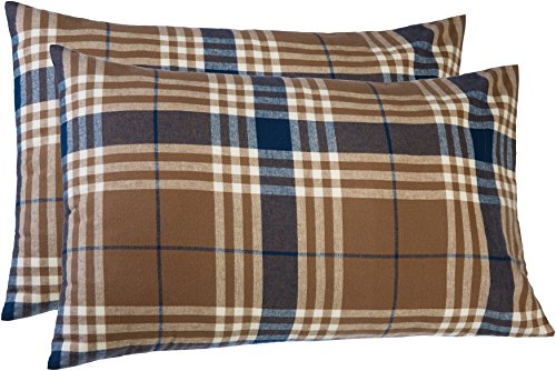 Pinzon 160 Gram Plaid Flannel Pillowcases - Standard, Brown Plaid